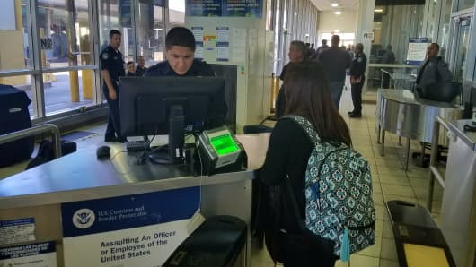 CBP agent at a port of entry in El Paso, Texas.