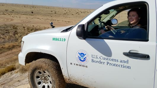 CNBC's Kate Rogers in off-road driving training at the U.S. Border Patrol Academy