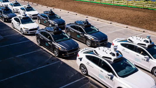 Pilot models of the Uber self-driving car is displayed at the Uber Advanced Technologies Center on September 13, 2016 in Pittsburgh, Pennsylvania.