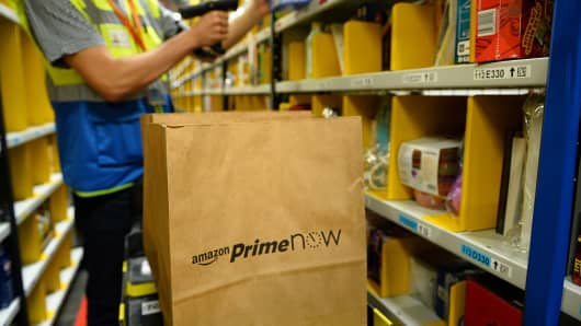 A picture taken on June 9, 2016 shows Amazon warehouse in Paris, part of the new service 'Prime Now'.