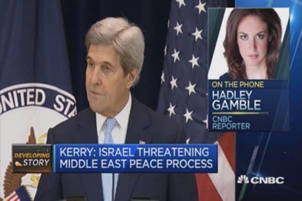 John Kerry: Israel threatening Middle East Peace process