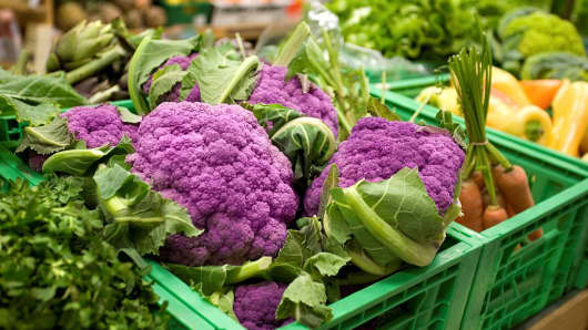 """Purple cauliflower, one of the predicted """"It"""" vegetables of 2017."""