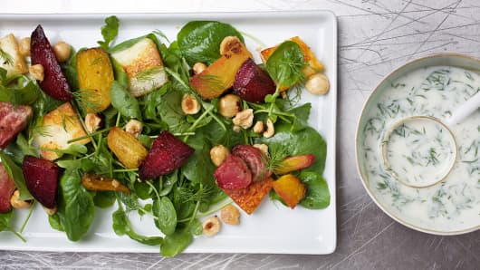 Paneer and roasted beet salad photographed in Washington, DC.