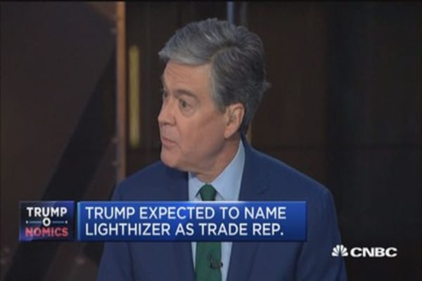 Trump expected to name trade hawk as rep.