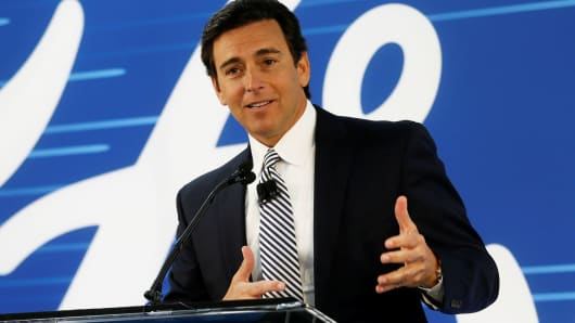 Then-Ford Motor Company president and CEO Mark Fields makes an announcement during a news conference at the Flat Rock Assembly Plant in Flat Rock, Michigan, January 3, 2017.