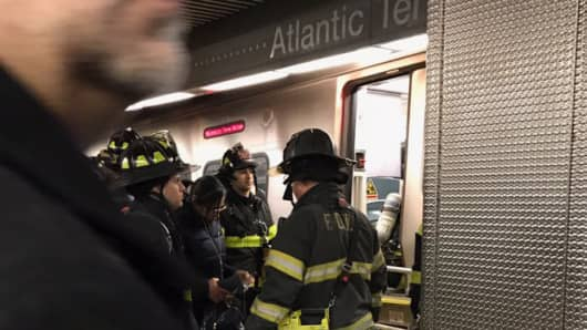 Firefighters on scene responding to a LIRR train derailment at Atlantic Terminal in Brooklyn on Jan. 4th 2017