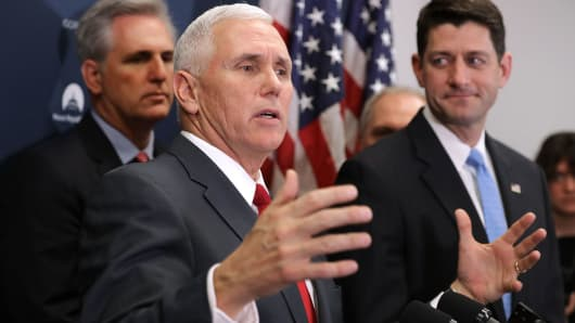 Vice President-elect Mike Pence joins House GOP Majority Leader Kevin Mc Carthy  and Speaker of the House Paul Ryan for a news conference at the U.S. Capitol