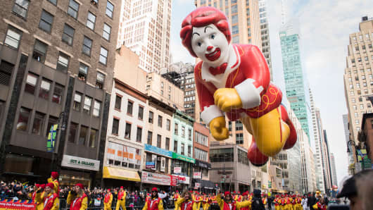 Ronald McDonald balloon is seen at the 90th Annual Macy's Thanksgiving Day Parade on November 24, 2016 in New York City.