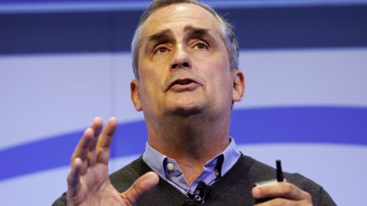 Brian Krzanich, Intel CEO, speaks during the Intel press conference at CES in Las Vegas, January 4, 2017.