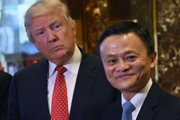Jack Ma (R), founder and executive chairman of Alibaba Group, and President-elect Donald Trump pose for the media after their meeting at Trump Tower January 9, 2017.