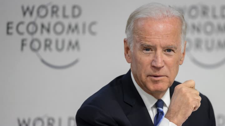 US Vice President Joe Biden takes part in a session on the theme 'Cancer Mooshot: A Call to action' during the World Economic Forum (WEF) annual meeting in Davos, on January 19, 2016.