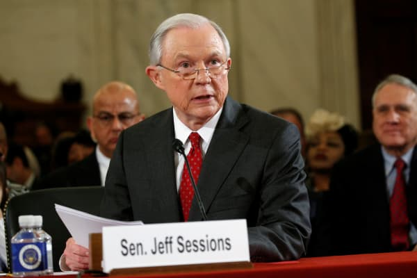 Sen. Jeff Sessions (R-AL) testifies at a Senate Judiciary Committee confirmation hearing for Sessions to become U.S. attorney general on Capitol Hill in Washington, U.S. January 10, 2017.