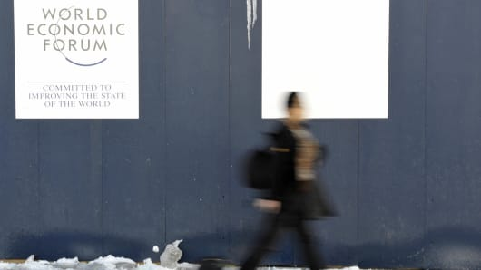 A man walks in Davos's street during the annual World Economic Forum in Davos, Switzerland.