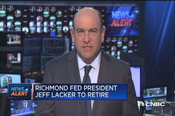 Richmond Fed President Jeff Lacker to retire