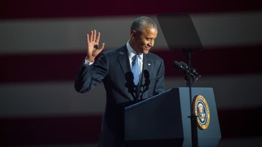 U.S. President Barack Obama gives his farewell speech at McCormick Place on January 10, 2017 in Chicago, Illinois.