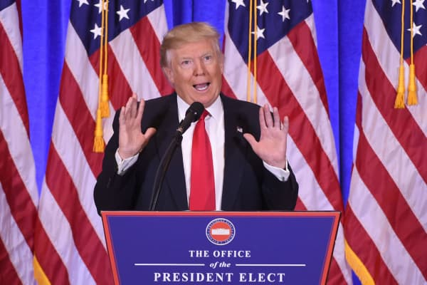 President-elect Donald Trump gives a press conference January 11, 2017 in New York.