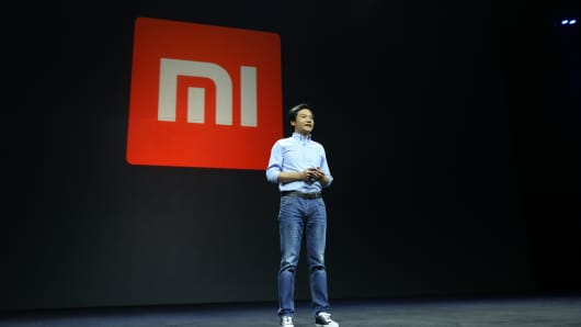 Lei Jun, founder and CEO of Xiaomi Inc, delivers a speech at a launch event for the new smartphone Xiaomi Mi 5 on February 24, 2016 in Beijing, China.