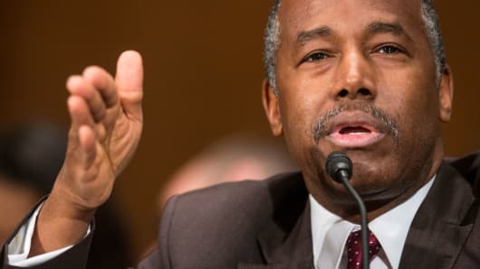 Housing and Urban Development Secretary-designate Ben Carson testifies at his confirmation hearing before the Senate Banking, Housing, and Urban Affairs Committee, Thursday, Jan. 12, 2017, on Capitol Hill in Washington.