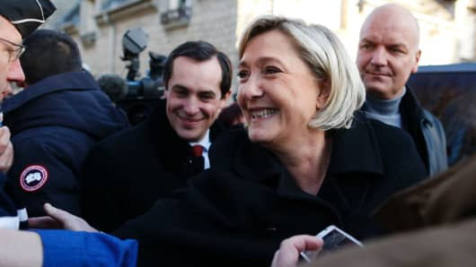 Marine Le Pen, leader of the French far-right Front National (FN) party candidate in France's 2017 presidential election.