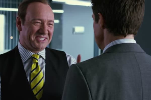 Scene from the film Horrible Bosses with Kevin Spacey and Jason Bateman.