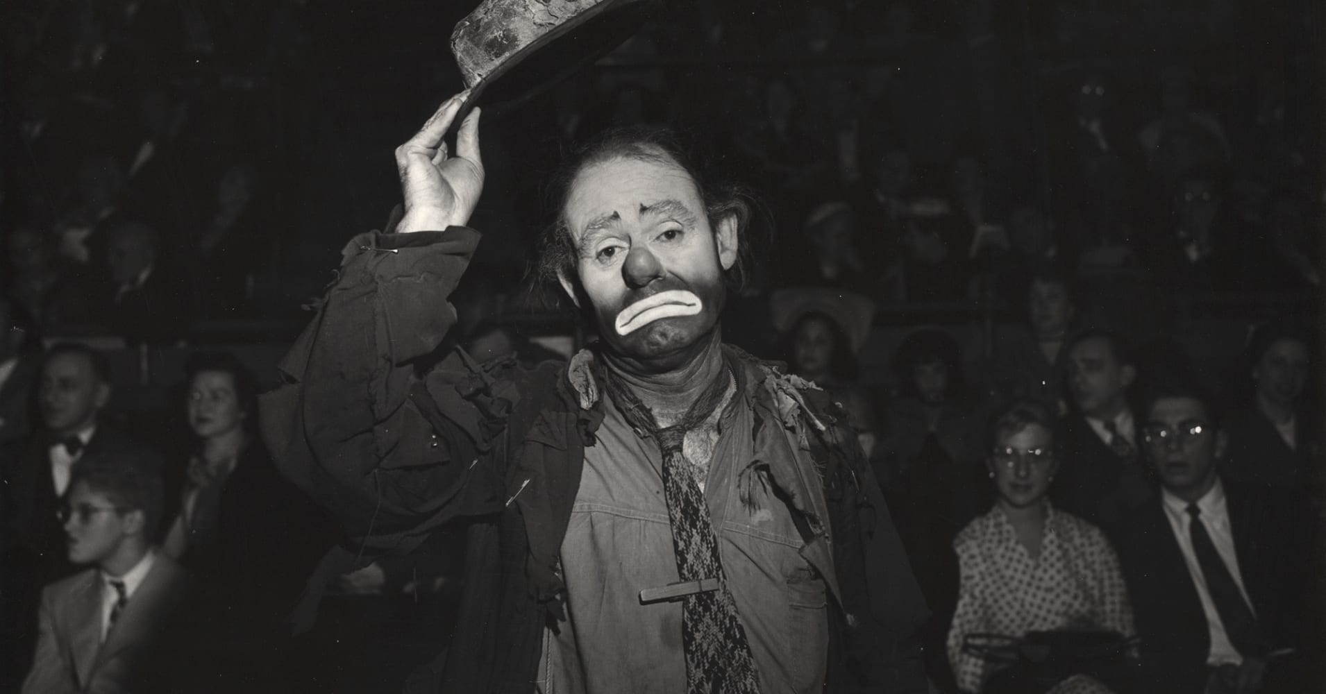 American circus performer Emmett Kelly in character as the clown Weary Willie in 1943