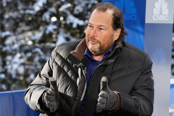 Marc Benioff, CEO of SalesForce at the World Economic Forum in Davos Switzerland.
