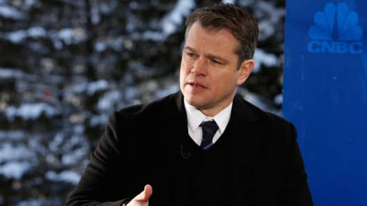 Matt Damon at the World Economic Forum in Davos, Switzerland.