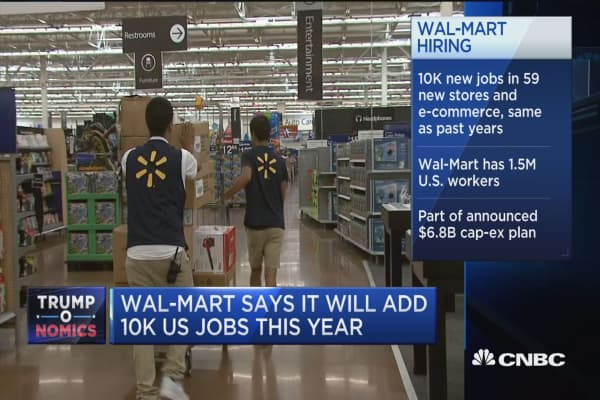 Wal-Mart says it will add 10K US jobs this year