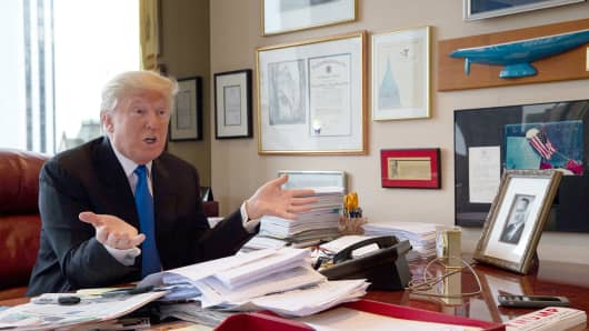 Donald Trump speaks during an interview with The Associated Press in his office at Trump Tower in New York, Tuesday, May 10, 2016.