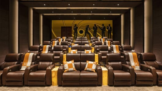 The Bel Air mansion's screening room has seating for 40.