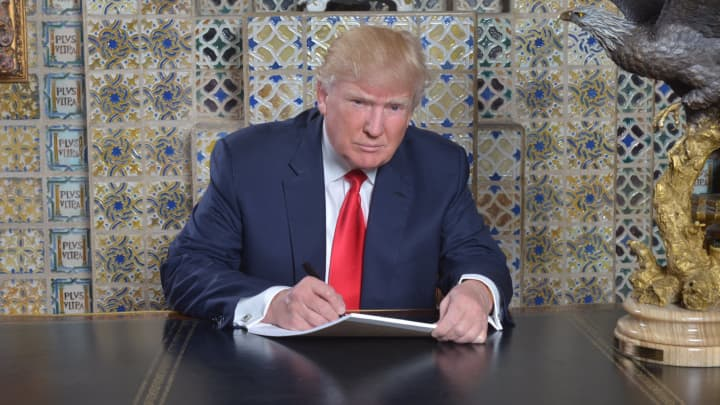 """Donald Trump tweeted out this photo with caption """"Writing my inaugural address at the Winter White House, Mar-a-Lago, three weeks ago. Looking forward to Friday."""""""
