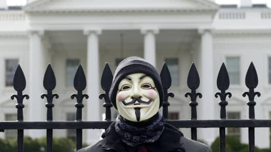 Anonymous Mask outside White House, politics, Donald Trump