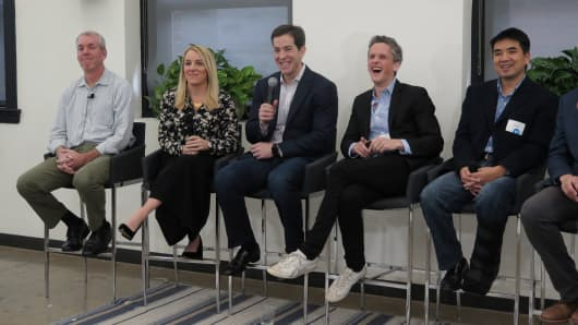 Okta Conference hosts Facebook VP of Platform Partnerships Sean Ryan, Slack VP of Product April Underwood, Okta CEO Todd McKinnon, Box CEO Aaron Levie Zoom, and CEO Eric Yuan