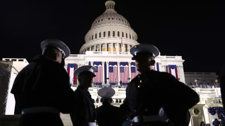 Marines stand in front of the U.S. Capitol building ahead of the 45th presidential inauguration in Washington, D.C., U.S.