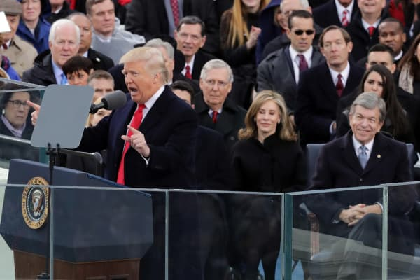President Donald Trump delivers his inaugural address on the West Front of the U.S. Capitol on January 20, 2017 in Washington, DC.