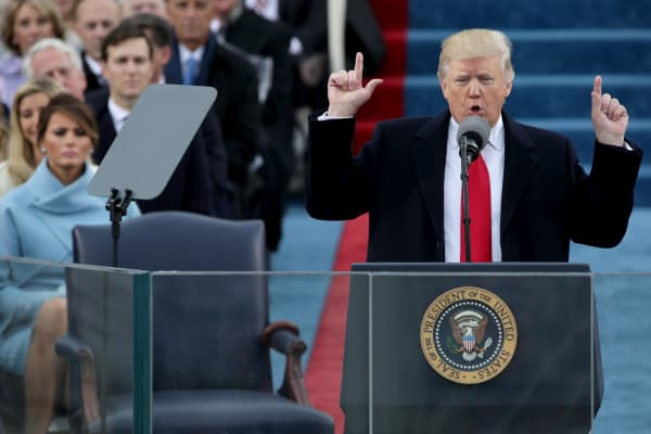 President Donald Trump delivers his inaugural address on the West Front of the U.S. Capitol on January 20, 2017, in Washington.