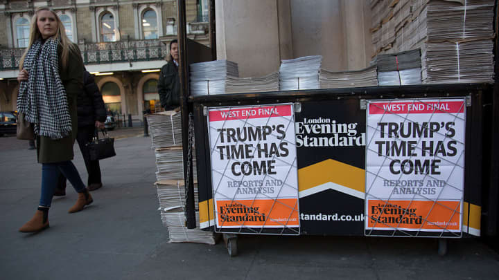 As the 45th US President is inaugurated in the USA, the headline on the Evening Standard newspaper reads 'Trump's time has come' on 20th January 2017 in London, England, United Kingdom.
