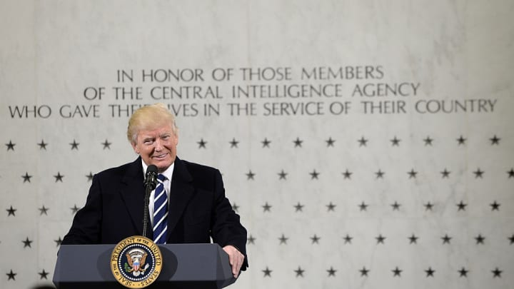 U.S. President Donald Trump smiles while speaking at the CIA Headquarters in Langley, Virginia, U.S., on Saturday, Jan. 21, 2017.