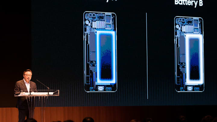 Koh Dong-jin, president of mobile communications at Samsung Electronics, speaks as various types of batteries used in the company's Galaxy Note 7 smartphones are displayed on a screen during a news conference in Seoul, South Korea, on Monday, Jan. 23, 2017.