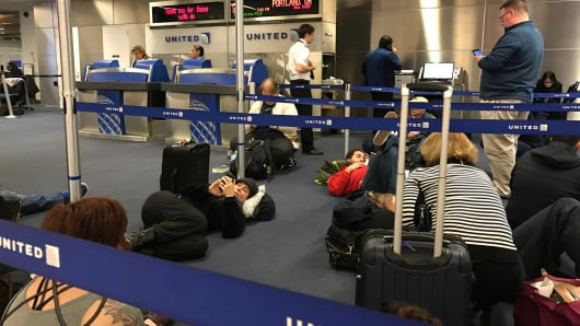 United planes were grounded at Newark International Airport due to a computer glitch on Jan. 23, 2017.