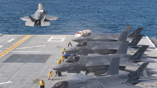 F-35 aircraft aboard the USS America, an amphibious assault ship for the Navy.