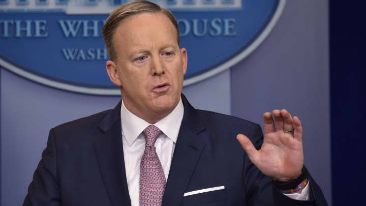 White House press secretary Sean Spicer holds the daily news briefing Jan. 23, 2017 at the White House in Washington.