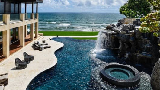 Patron CEO Ed Brown's Florida home has a $1 million waterfall.