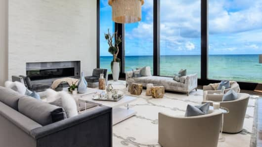 The living room of Patron CEO Ed Brown's 40,000-square-foot home in Manalapan, Florida.