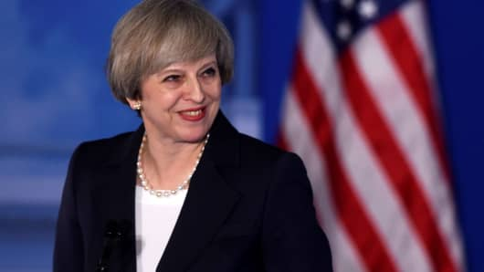"""Britain's Prime Minister Theresa May speaks during the 2017 """"Congress of Tomorrow"""" Joint Republican Issues Conference in Philadelphia, January 26, 2017."""