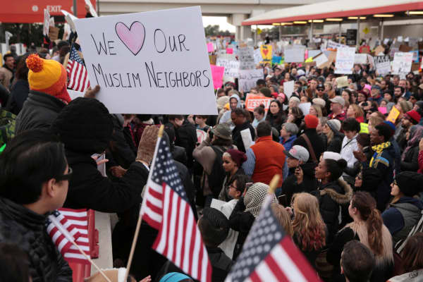 Thousands of people attend an anti-Donald Trump travel ban protest outside Hatfield-Jackson Atlanta International Airport in Atlanta, Georgia U.S., January 29, 2017.
