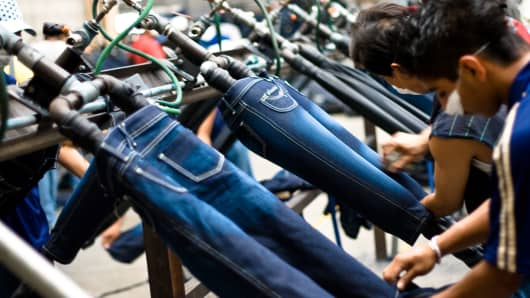 Jeans being manufactured in Mexico.