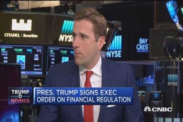 Financials rise after Trump's financial regulation orders