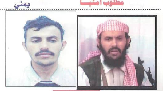 A Yemeni police wanted poster shows on October 11, 2010, two different images of Al-Qaeda in the Arabian Peninsula (AQAP) military chief in Yemen Qassim al-Rimi.