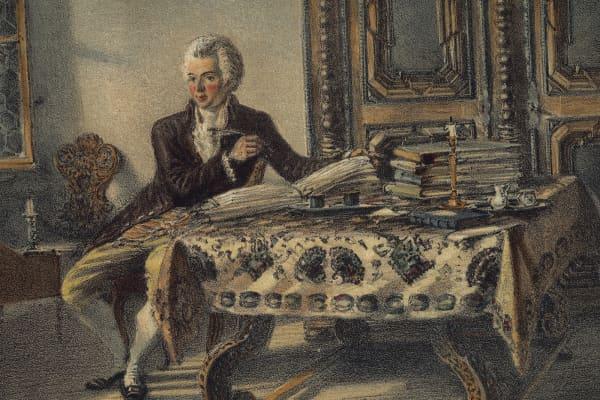 Portrait of Wolfgang Amadeus Mozart, Austrian composer, in his studio in Kahlenberg.